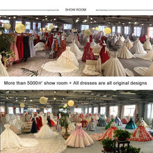 Load image into Gallery viewer, wedding dress ball gown princess high neck long sleeve sequined lace boho wedding with train suknia slubna