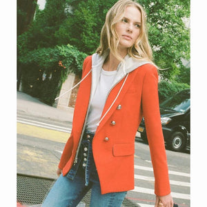 Work Wear Fashion Blazer Jacket Women's Zip Removable Hooded Double Breasted Red Casual Blazer