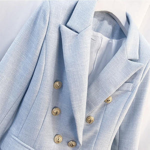 Women Fashion Blazer Women's Breasted Color Gold Metal Lion Buttons Double Blazer Jacket