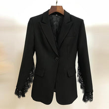 Load image into Gallery viewer, Women Stylish Workw Blazer Jacket Women's Lace Fringe Slit Sleeve One Button Blazer