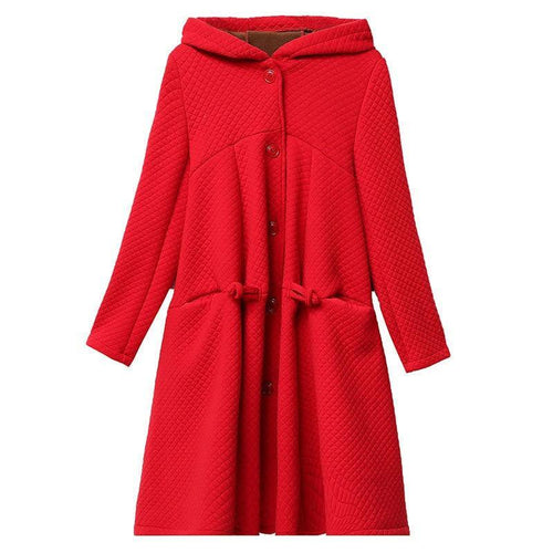 Autumn Winter Hood Coat Velvet Thick Jacket Women Single Breasted Cotton Jacket Warm Coat