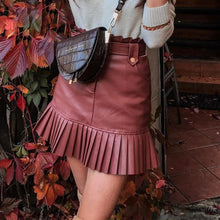 Load image into Gallery viewer, Women's Faux Leather Mini Skirts Black PU Pleated Ruffles Belt Casual Fashion Lady Short Skirt