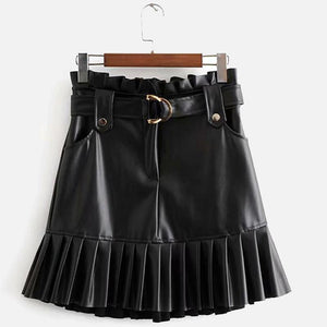 Women's Faux Leather Mini Skirts Black PU Pleated Ruffles Belt Casual Fashion Lady Short Skirt