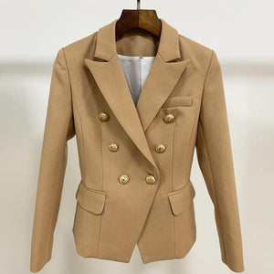 Women Fashion Designer Blazer Women's Lion Buttons Double Breasted Thick Fabric Blazer Jacket Brown