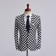 Load image into Gallery viewer, Tide Male Black White Plaid Blazer Design Men's Fashion Suit Jacket Singer Costume Slim Fit Outfit