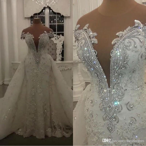 Robe de Mariage Modern Lace Mermaid Wedding Dresses Shining Crystals Beads Appliques Sheer Neck Wedding Bridal Gowns