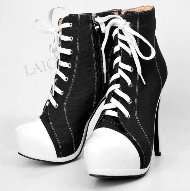Canvas Women Platform Booties High Heel Side Zip Short Ankle Boots Shoes Woman Ladies Large