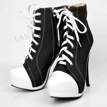 Load image into Gallery viewer, Canvas Women Platform Booties High Heel Side Zip Short Ankle Boots Shoes Woman Ladies Large