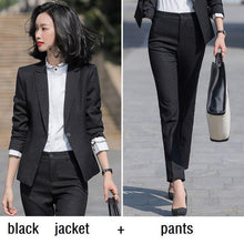 Load image into Gallery viewer, Women suits Slim spring autumn Solid color blazers jacket pants 2-piece set OL Formal Women pants suits