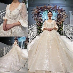 sparkly princess wedding dress with lace o-neck tassel half sleeve luxury ball wedding gowns new fashion robe de mariée