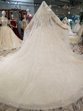 Load image into Gallery viewer, wedding dress ball gown short sleeve lace beaded sexy illusion wedding gown with veil