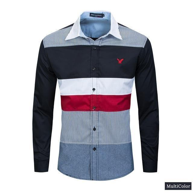 Spring New Patchwork Shirt Men Casual Social Long Sleeve Dress Shirt Male 100% Cotton Color Block Shirts