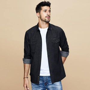 fall new denim shirt men long sleeve cotton denim shirt leisure fashion coat lapels