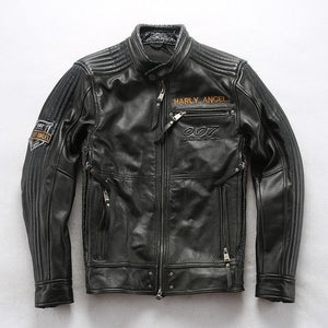 Men's super quality men's genuine cow leather coat cowhide leather rider jacket