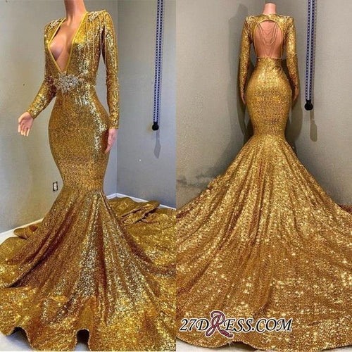 Deep V-Neck Mermaid Gold Prom Dresses Full Sequined Long Sleeves Party Dresses Evening Gown