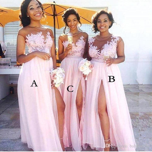 Elegant Appliques Lace A-Line Evening Dresses Side Split Long Prom Formal Party Dresses Gowns