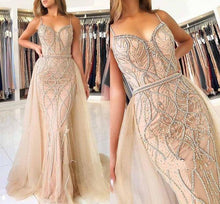 Load image into Gallery viewer, Mermaid Evening Dress Long Beading Tulle Formal Women Celebrity Dress Sleeveless Prom Gowns