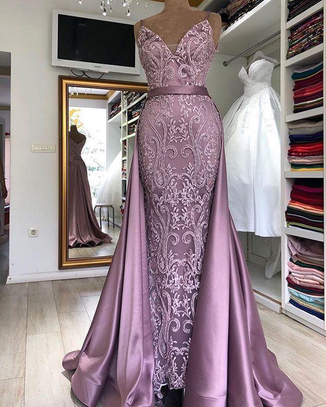 Women Evening Dress Spaghetti Strap Detachable Tail Mermaid Long Evening Gowns Lace Sleeveless Robe Longue