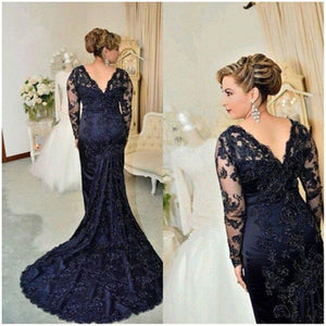 Navy Blue Lace Long Sleeve Evening Dresses Mermaid Formal Dresses Evening Gowns