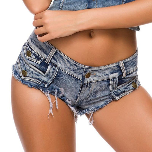 Sexy Denim Shorts Casual Skinny Cotton Low waist Fashion Button Pockets Tassel Women Shorts Sexy Holes Jean Shorts hot pants