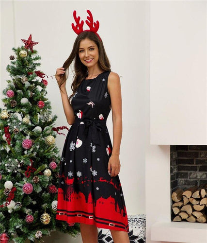 New Year Party Dress Vintage Midi Lady Dresses Plus Size Sleeveless Christmas Dress Women Round Neck