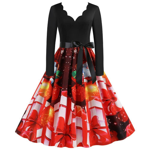 Women Xmas and New Year Casual Retro V-Neck Print Party Dress Long Sleeve Knee-Length A-Line Winter Elegant Dresses