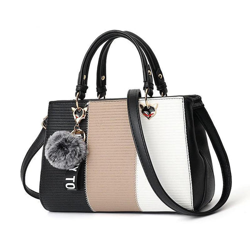 Women Hairball Ornaments Totes Patchwork Handbag Party Purse Ladies Messenger Crossbody Shoulder Bags