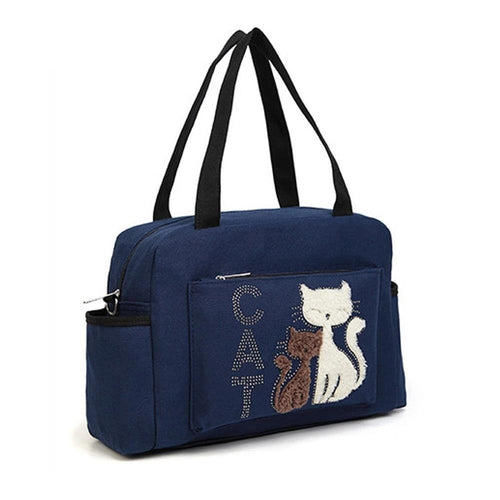 Women's Shoulder Bags Cat Printed Large Capacity Canvas Handbag Casual Woman Travel Bag Dual-use