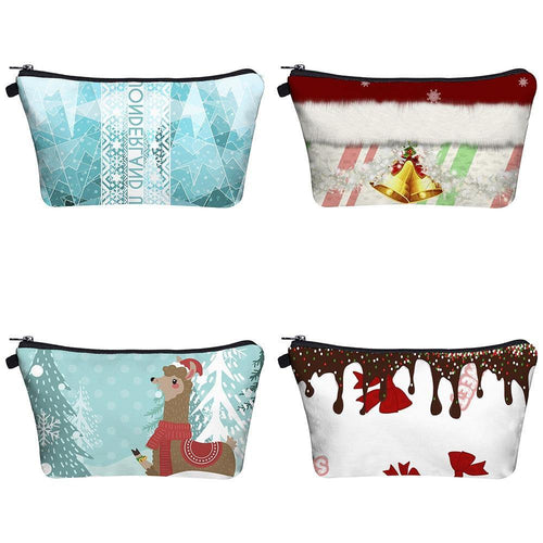 Women Coins Bag Christmas Print Cosmetic Ladies Wash Bags Phone Small Wallet Purse Travel Storage Makeup Bags