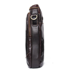 Genuine Leather Bags Men High Quality Messenger Bags Small Travel Dark Brown Crossbody Shoulder Bag For Men