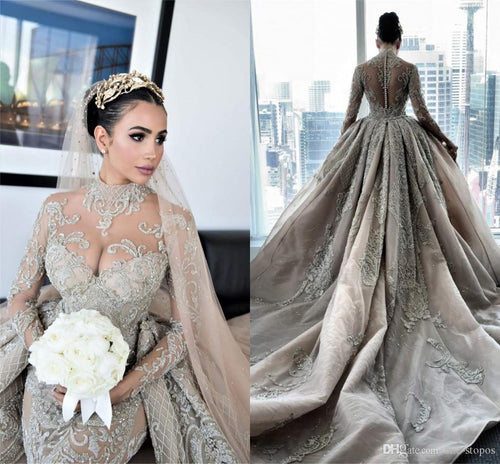 Luxury Crystal Beaded Mermaid Wedding Dresses With Detachable Train Sexy High Neck Long Sleeves Bridal Gown