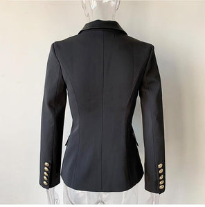 Fashion High Quality Design PU Leather Collar Slim Black Blazer OL Formal Classic Fitness Blazers