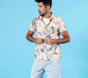 summer new hawaii short sleeve shirts men holiday 100% cotton breathable floral shirt plus size clothing