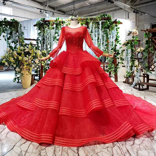 red bridal evening dress multi-layer train o-neck long sleeve lace up back evening gown celebrity dresses robe