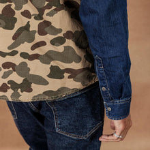 Load image into Gallery viewer, spring winter new camouflage paneled denim shirt men Patckwork contrast color Military hip hop cotton shirts