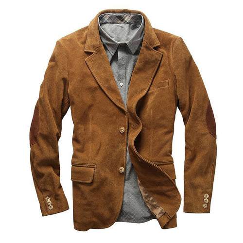 genuine cow skin leather jacket men's cowhide casual British stylish leather blazer