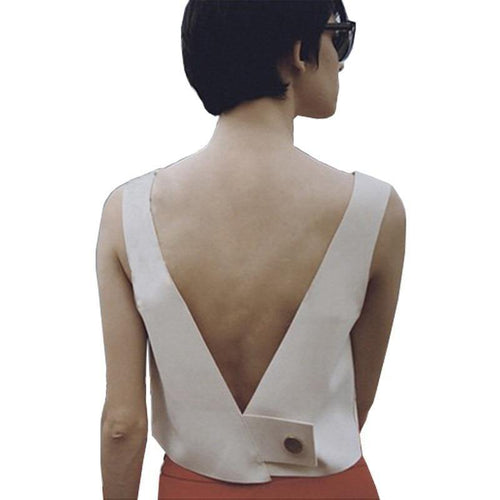 Fashion White V-neck Short Vest Tops Sexy Backless Lady High Quality Women Casual Street Wear