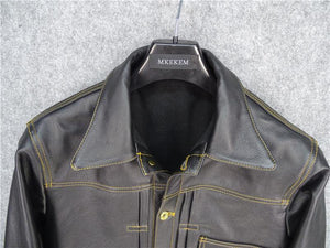 genuine cow skin leather jacket men's cowhide casual vintage leather jacket