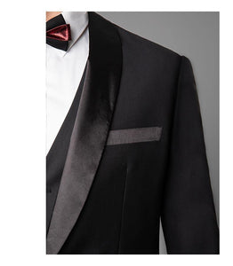 Men's 3-Piece Tuxedo Slim Fit Shawl Lapel Jacket+Vest+Pants Groom Suit Stage Show Singer Musician Business Party Prom