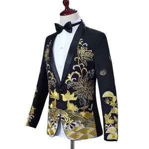 Men Suits Male Shawl Lapel Tuxedo Embroidered Prom Dress Suits Stage Singer Costume Men's Suit Jacket Pants Wedding Groom