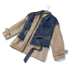 High QUALITY Women Work Wear Stylish Jacket Blazer Women's Leather Patchwork Denim Jacket Blazer Workwear - moonaro
