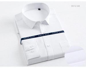Men's Regular-fit Long Sleeve Solid Basic Dress Shirts Patch Chest Pocket Formal Business Work Office White Male Tops Shirt