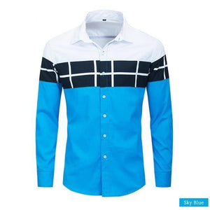 Spring New Color Block Shirt Men Casual Fashion Long Sleeve Patchwork Plaid Shirt 100% Cotton Homme Tops