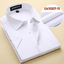 Load image into Gallery viewer, Summer Men's Short-sleeve White Basic Dress Shirt with Single Chest Pocket Slim-fit Business Formal Solid/twill/plain Shirts