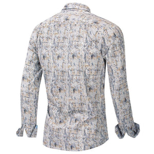 New Fashion Print Shirt Men Long Sleeve 100% Cotton Casual Slim Fit Floral Dress Shirt Male Streetwear