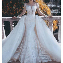 Load image into Gallery viewer, Gorgeous White Lace Wedding Dress with Detachable Train Illusion Long Sleeve Mermaid Wedding Gowns robe de mariee
