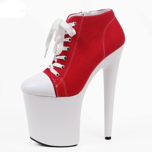 20cm high heel Red Canvas Blacklight Sneaker Shoes Platform Stripper Exotic Dancing High Heel