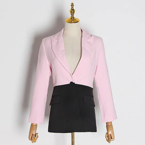 Women Hit Color Patchwork Blazer For Women Notched Collar Long Sleeve Elegant Fashion Coats Blazer