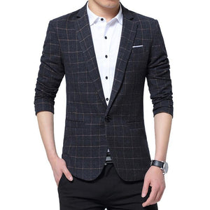 Men Blazers Spring British Style Plaid Male Slim Fit Business Casual Blazer Coat Men Brand Outwear Jacket - moonaro
