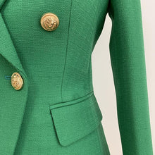 Load image into Gallery viewer, HIGH QUALITY Women Work Wear Blazer Jacket Women's Lion Buttons Double Breasted Woven Blazer Jacket